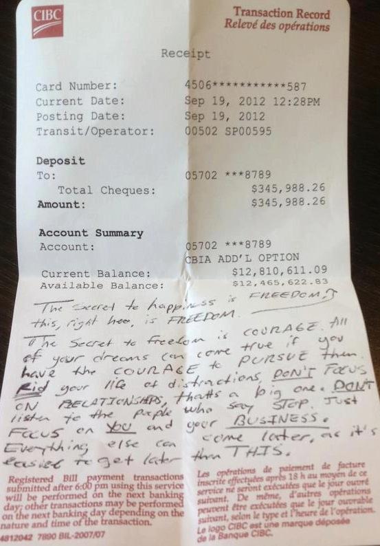 12 Million Dollar Bank Receipt